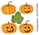 vector set halloween pumpkins | Shutterstock .eps vector #221757496