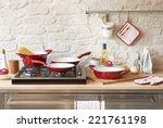 modern red kitchen | Shutterstock . vector #221761198