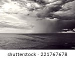 Downpour Over Sea With Stormy...