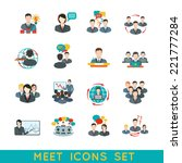 Business Meeting Flat Icons Se...