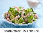 Fresh Green Salad With Shrimp...