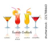 favorite cocktails set isolated.... | Shutterstock .eps vector #221788663