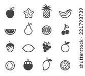 fruit vector icons  mono... | Shutterstock .eps vector #221793739
