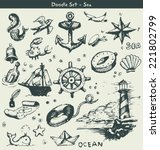 nautical doodle elements | Shutterstock .eps vector #221802799