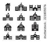 school building icon | Shutterstock .eps vector #221805076