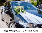 wedding car decor flowers... | Shutterstock . vector #221805634