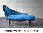 blue chair in vintage room  | Shutterstock . vector #221810548