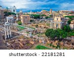 Ancient ruins of the Roman Forum in Rome, Italy - stock photo