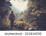 woman with hiking equipment... | Shutterstock . vector #221814520
