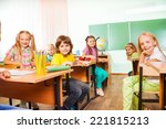 table rows with boys and girls... | Shutterstock . vector #221815213