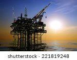 oil production in the night sea. | Shutterstock . vector #221819248
