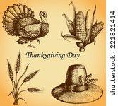 thanksgiving day set  kit .... | Shutterstock .eps vector #221821414