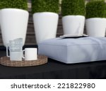 close up outdoor patio seating... | Shutterstock . vector #221822980