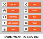 flat orange buttons set. vector ... | Shutterstock . vector #221829103