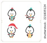 set of cute penguins. vector... | Shutterstock .eps vector #221835124