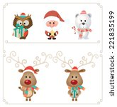 set of cute christmas character.... | Shutterstock .eps vector #221835199