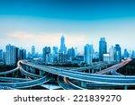 city highway overpass panoramic ... | Shutterstock . vector #221839270