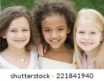 close up of multi ethnic girls... | Shutterstock . vector #221841940