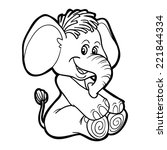 coloring book  elephant  | Shutterstock .eps vector #221844334