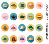 hat icons set in flat design... | Shutterstock .eps vector #221846920