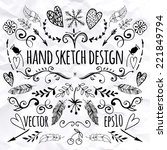 big set of sketches and line... | Shutterstock .eps vector #221849794