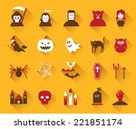 icons set   halloween objects | Shutterstock .eps vector #221851174