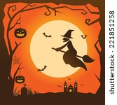 halloween background with witch | Shutterstock .eps vector #221851258