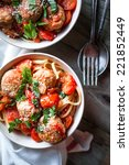 pasta with meatballs on rustic... | Shutterstock . vector #221852449