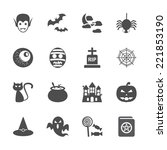 halloween icon set  vector... | Shutterstock .eps vector #221853190