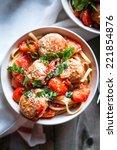 pasta with meatballs on rustic... | Shutterstock . vector #221854876