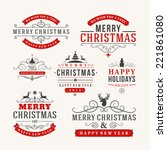 christmas decoration set of... | Shutterstock .eps vector #221861080