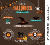 set of halloween decoration... | Shutterstock .eps vector #221863174