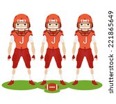 three football players with... | Shutterstock .eps vector #221865649