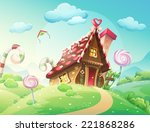 illustration of sweet house of... | Shutterstock .eps vector #221868286