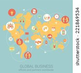 global business worldwide flat... | Shutterstock .eps vector #221869534