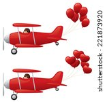 red biplanes towing balloons.  | Shutterstock .eps vector #221873920