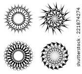 abstract circular tattoos set.... | Shutterstock . vector #221874274