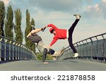 two breakdancers dancing... | Shutterstock . vector #221878858