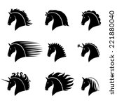 Stock vector vector illustrations set of silhouette of a beautiful horse head with different manes 221880040