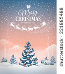 christmas greeting card with... | Shutterstock .eps vector #221885488