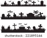 halloween graveyard set...   Shutterstock .eps vector #221895166