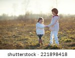 little happy laughing kids in a ... | Shutterstock . vector #221898418
