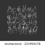 hands.gestures. hand drawn... | Shutterstock . vector #221904178