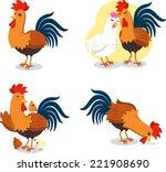 rooster set  vector... | Shutterstock .eps vector #221908690