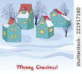 christmas invitation card with... | Shutterstock . vector #221917180