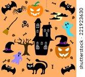 set of cute  halloween elements.... | Shutterstock .eps vector #221923630