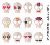 flat design style skull icon... | Shutterstock .eps vector #221924848