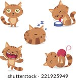 Stock vector cat set with five different cats in different situations like standing drinking milk sleeping 221925949