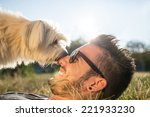 dog and his owner   cool dog... | Shutterstock . vector #221933230