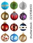 Set Of Christmas Balls Isolate...